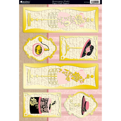 Kanban Crafts - Shabby Chic Collection - Die Cut Punchouts with Foil Accents - Mannequin - Pink