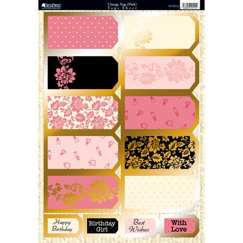 Kanban Crafts - Shabby Chic Collection - Die Cut Punchouts with Foil Accents - Vintage Tags - Pink