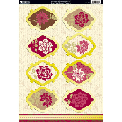 Kanban Crafts - Shabby Chic Collection - Die Cut Punchouts with Foil Accents - Vintage Flowers - Ruby