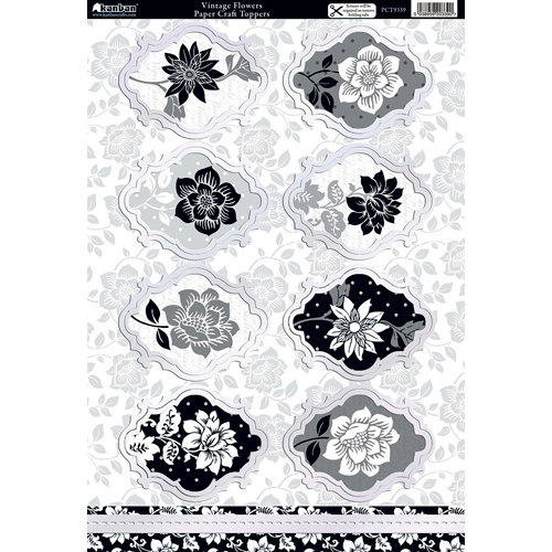 Kanban Crafts - Shabby Chic Collection - Die Cut Punchouts with Foil Accents - Vintage Flowers