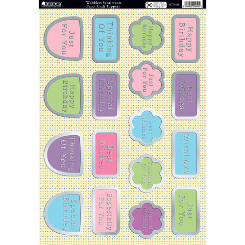 Kanban Crafts - Wobblers Collection - Die Cut Punchouts with Foil Accents - Wobblers Sentiments