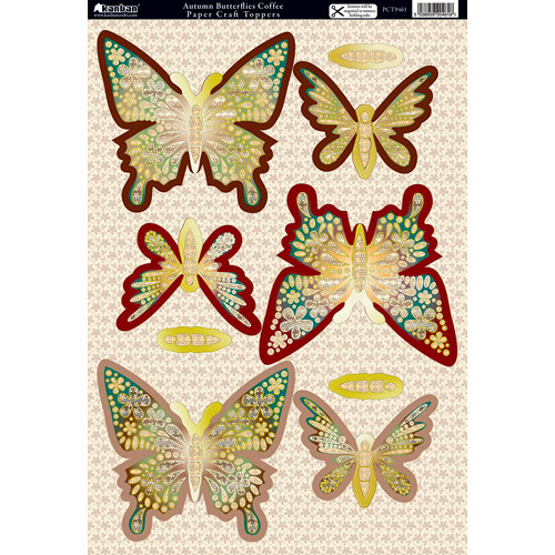 Kanban Crafts - Seasons Collection - Die Cut Punchouts with Foil Accents - Autumn - Butterflies Coffee