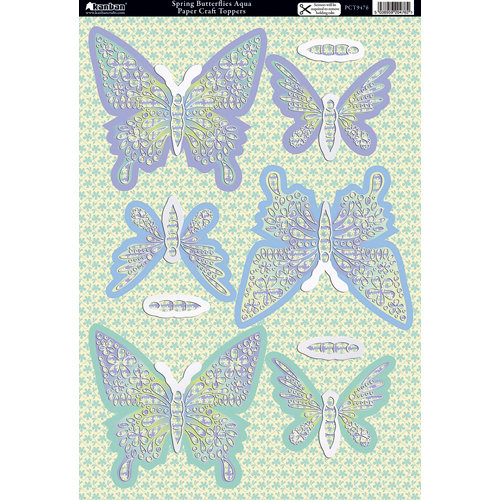 Kanban Crafts - Seasons Collection - Die Cut Punchouts with Foil Accents - Spring - Butterflies Aqua