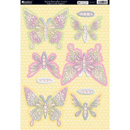 Kanban Crafts - Seasons Collection - Die Cut Punchouts with Foil Accents - Spring - Butterflies Lemon