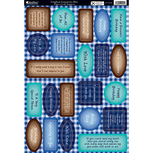 Kanban Crafts - Die Cut Punchouts with Foil Accents - Gingham Setiments - Blue