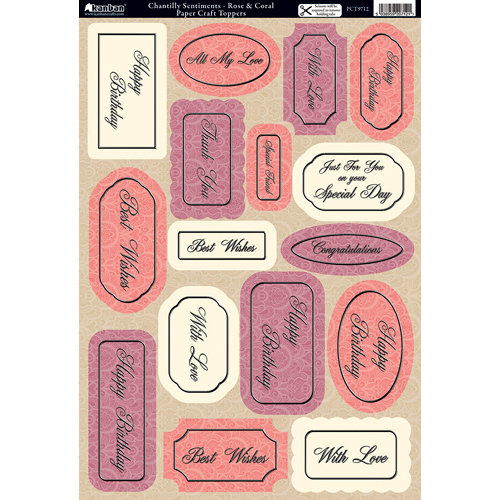 Kanban Crafts - Mitford Collection - Die Cut Punchouts - Chantilly Sentiments - Rose and Coral