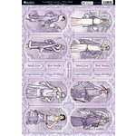 Kanban Crafts - Cavendish Ladies Collection - Die Cut Punchouts and 8 x 12 Patterned Cardstock - Velvet Plum Cameos