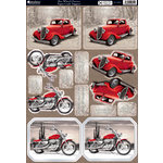 Kanban Crafts - All About Him Collection - Die Cut Punchouts and 8 x 12 Patterned Cardstock - Hot Wheel Classics