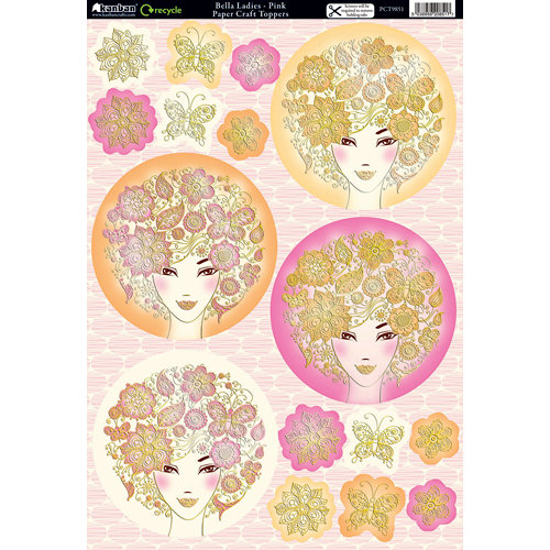 Kanban Crafts - Mitford Collection - Die Cut Punchouts with Foil Accents - Bella Ladies - Pink