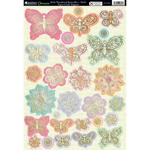Kanban Crafts - Mitford Collection - Die Cut Punchouts with Foil Accents - Bella Woodland Butterflies - Multi