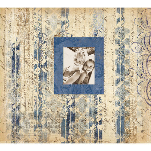 K and Company - Simply K Collection - 12 x 12 Scrapbook Album - Blue Stripe