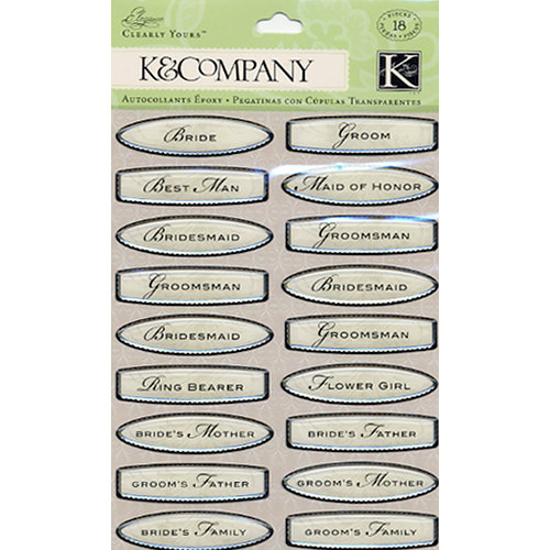 K and Company - Elegance Collection - Clearly Yours - Epoxy Stickers - Titles