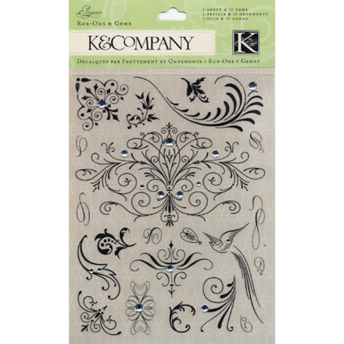 K and Company - Elegance Collection - Rub Ons - Swirls and Gems, CLEARANCE