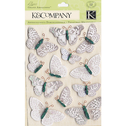 K and Company - Elegance Collection - Grand Adhesions Stickers - Butterfly