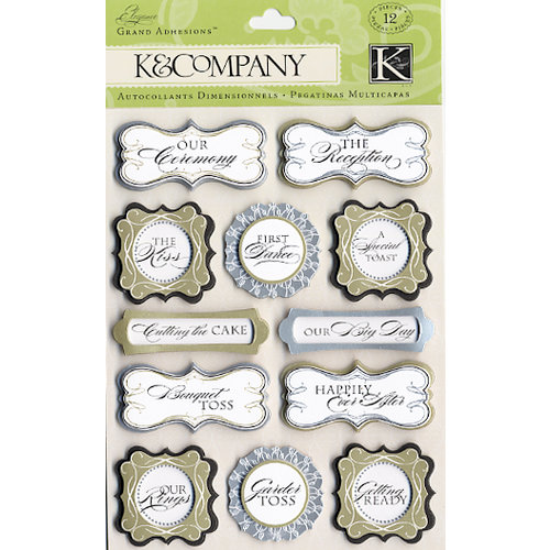 K and Company - Elegance Collection - Grand Adhesions Stickers - Words, CLEARANCE