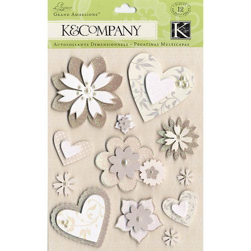 K and Company - Elegance Collection - Grand Adhesions Stickers - Hearts and Flowers, CLEARANCE