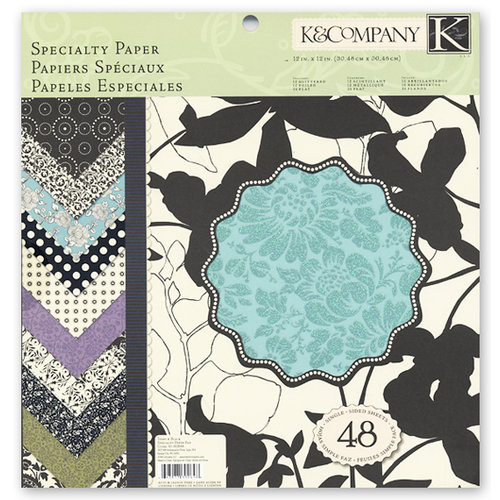 K and Company - Ivory and Black Collection - 12 x 12 Specialty Paper Pad