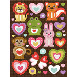 K and Company - Ka-Zoo Valentine Collection - Grand Adhesions Stickers - Animals and Hearts, CLEARANCE