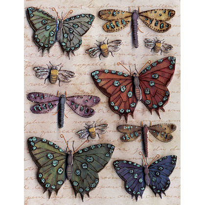 K and Company - Blossomwood Collection by Tim Coffey - Grand Adhesions Stickers - Butterfly