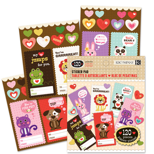 K and Company - Ka-Zoo Valentine Collection - Sticker Pad - To From, CLEARANCE