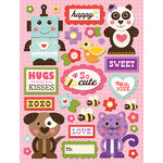 K and Company - Ka-Zoo Valentine Collection - Grand Adhesions Stickers - Animals and Words, CLEARANCE