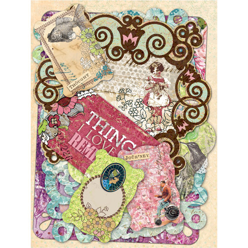 K and Company - Jubilee Collection - Die Cut Cardstock Pieces with Foil and Glitter Accents - Tags and Note Cards