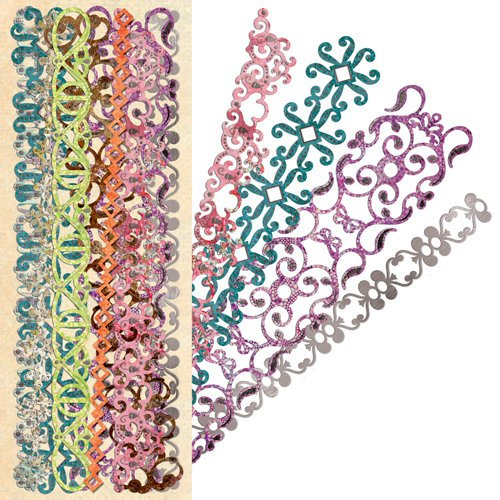 K and Company - Jubilee Collection - Adhesive Borders with Foil Accents