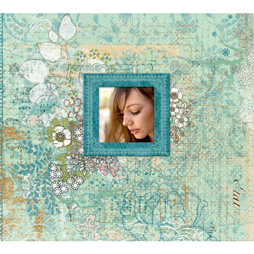 K and Company - Jubilee Collection - 12 x 12 Scrapbook Album - Blue Floral