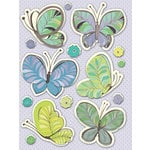 K and Company - PoppySeed Collection - Grand Adhesions Stickers with Glitter Accents - Butterfly Paisley, CLEARANCE