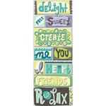 K and Company - PoppySeed Collection - Adhesive Chipboard with Glitter and Gem Accents - Words