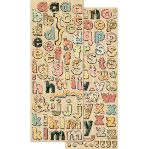 K and Company - Handmade Collection - Adhesive Chipboard - Doodle Alphabet
