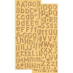 K and Company - Handmade Collection - Adhesive Chipboard - Woodgrain Alphabet