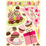 K and Company - Confetti Collection - Grand Adhesions with Glitter and Gem Accents - Birthday