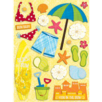 K and Company - Citronella Collection - Grand Adhesions Stickers - Water Fun Beach