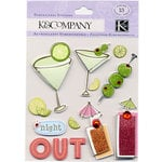 K and Company - 3 Dimensional Stickers with Glitter and Gem Accents - Night Out