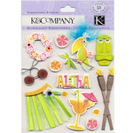 K and Company - 3 Dimensional Stickers with Feather and Gem Accents - Paradise
