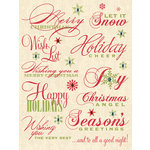 K and Company - Yuletide Collection - Christmas - Rub Ons with Gems - Words