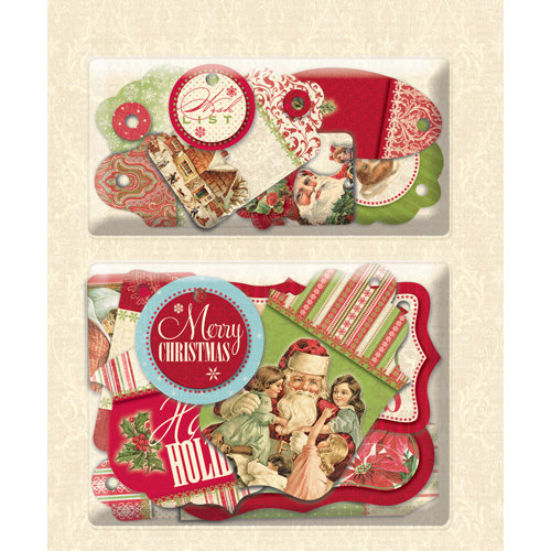 K and Company - Yuletide Collection - Christmas - Layered Accents with Varnish Accents - Tags
