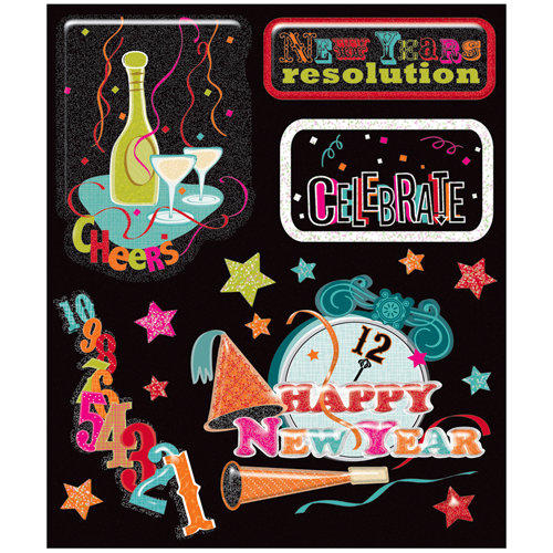 K and Company - Life's Little Occasions Collection - 3 Dimensional Stickers with Glitter and Puffy Accents - New Years