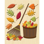 K and Company - Life's Little Occasions Collection - 3 Dimensional Stickers with Foil and Puffy Accents - Raking the Leaves