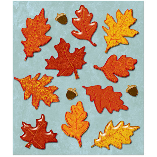 K and Company - Life's Little Occasions Collection - 3 Dimensional Stickers with Glitter and Puffy Accents - Leaves