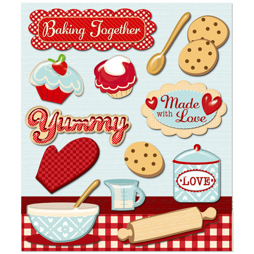 K and Company - Life's Little Occasions Collection - 3 Dimensional Stickers  with  Epoxy and Glitter Accents - Baking Together