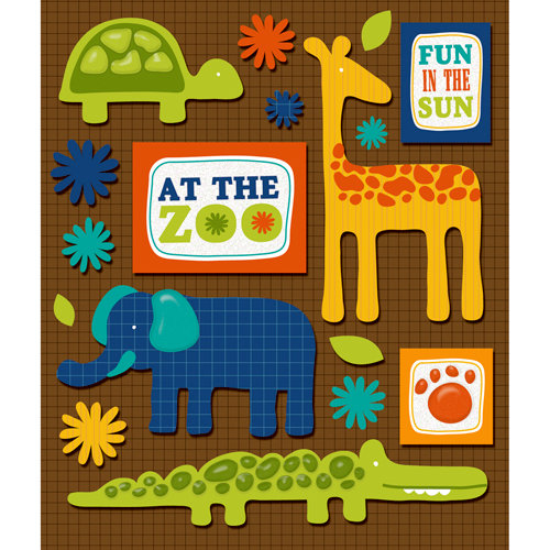 K and Company - Life's Little Occasions Collection - 3 Dimensional Stickers  with  Epoxy and Glitter Accents - Zoo