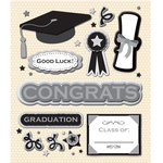 K and Company - Life's Little Occasions Collection - 3 Dimensional Stickers with Foil Accents - Graduation, CLEARANCE