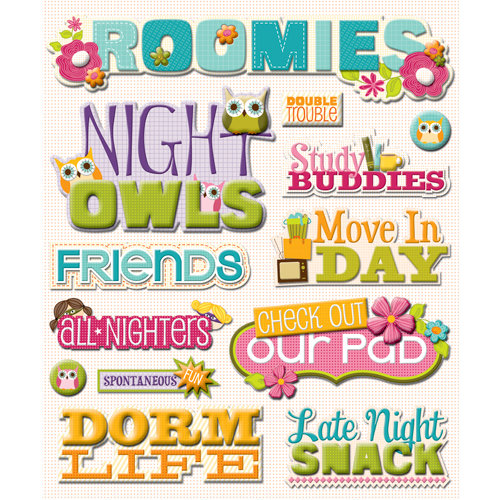 K and Company - Life's Little Occasions Collection - 3 Dimensional Stickers  with  Glitter and Varnish Accents - Roommates