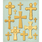 K and Company - Life's Little Occasions Collection - 3 Dimensional Stickers with Foil Accents - Crosses, CLEARANCE