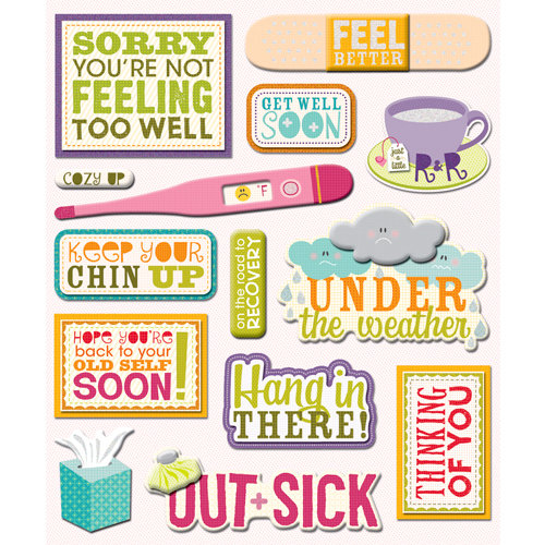 K and Company - Life's Little Occasions Collection - 3 Dimensional Stickers with Epoxy and Glitter Accents - Get Well Soon