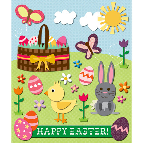 K and Company - Life's Little Occasions Collection - 3 Dimensional Stickers  with  Glitter and Puffy Accents - Easter