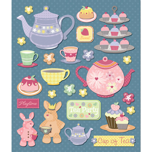 K and Company - Life's Little Occasions Collection - 3 Dimensional Stickers with Glitter and Puffy Accents - Tea Party