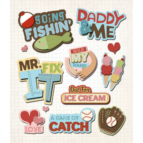 K and Company - Life's Little Occasions Collection - 3 Dimensional Stickers  with  Epoxy and Glitter Accents - Daddy and Me